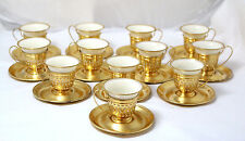 Gorham Sterling Silver 12 Lined Lenox Teacups w/ Saucers, Gold Wash, Monogrammed