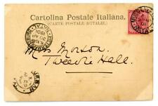 1901 Milan Italy postcard from Musgrave Natal to Tweedie Hall