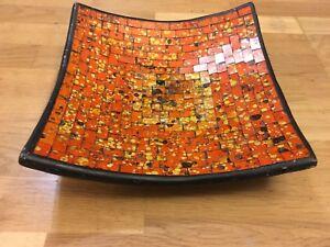 Orange Red Tile Mosaic Plate Bowl