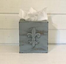 Gray Kleenex box - tissue holders - tissue covers - fleur de lis - shabby chic