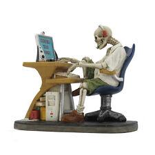 Skeleton Web Surfer Figurine Ornament - Surfed Too Long - Veronese Design - 14cm