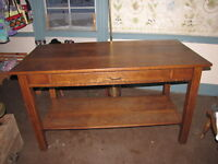 Antique Harvest Table, Solid Red Oak, Old Farm House, Rustic Cabin Decor, Nice!