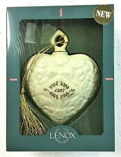 Lenox 1997 White Puffy Heart Christmas Ornament