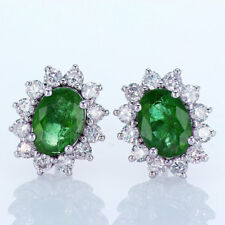 1.84CT Emerald and Diamond Earrings 18K White Gold