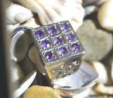 Silberring 60 Handarbeit Amethyst lila Silber Breit Bandring Ring Siegelring