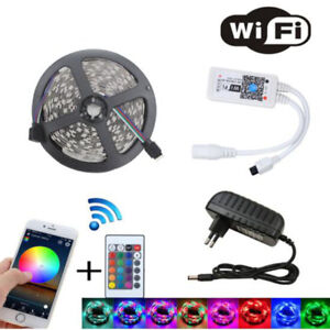 Magic WiFi Music 5m 15m 20m 3528 rgb led strip waterproof tape light power set
