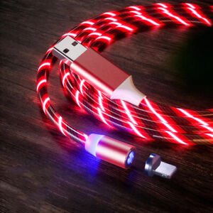 Magnetic LED Light Up USB Phone Cable for iphone Type C Charger Cord Micro US
