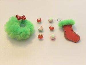 1:12 Dollhouse Miniature Christmas Wreath Stocking Cupcakes OOAK Handmade LOT
