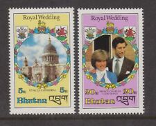1981 Royal Wedding Charles & Diana MNH Stamps Stamp Set Bhutan Perf 5nu &20nu