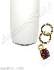 Piercing anneau bijou d'Ongle Strass SWAROVSKI Siam AB 2,5mm Nail Art