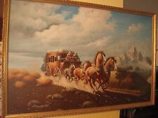 """Western Stagecoach Riders Oil Painting on Canvas Sign S. Donsfrod 36"""" X 24"""""""