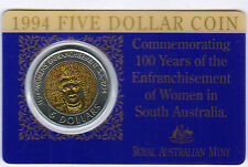 1994 $5 RAM Coin (100 Years of Enfranchisement of Women in S. A.) UNC