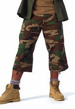 New Rothco 8361 Woodland Camo 6 Pocket BDU Super Long Shorts 3/4 Length Pants