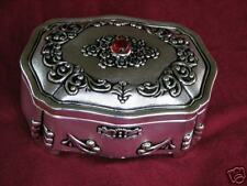 Silver Plated Jewelry Box with Red Jewel Trinket Box