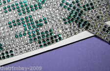 Emerald Green Reflective Clear Diamante Designer Trimming Braid