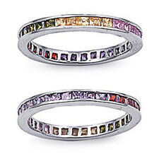 Women Band Sterling Silver Multicolor Princess Cut CZ Eternity Ring 4MM size 10