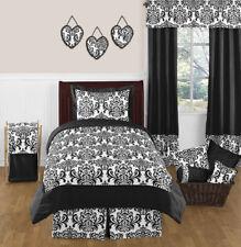 Jojo Luxury Black White Damask Girl Kids Teen Full Queen Sized Bedding Set Room