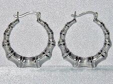 STERLING SILVER (925) LADIES VINTAGE STYLE BAMBOO HOOP CREOLE EARRINGS