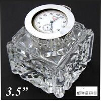 """Antique Brilliant Cut Crystal & Sterling Silver 3.5"""" Inkwell, Pocket Watch Displ"""