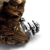 New Charm Men's Titanium Steel Fashion Gothic Punk Skull Head Biker Finger Rings