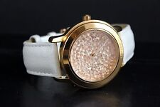 DKNY Glitz Crystal Rose Gold Dial White Leather Womens Watch NY8537