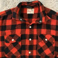 Winter King Vintage 60s L Buffalo Plaid Snap Wool Flannel Shirt Red Heavy