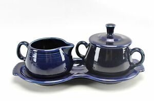 Vintage Cobalt Blue Fiesta Homer Laughlin Sugar Creamer Figure 8 Tray Set