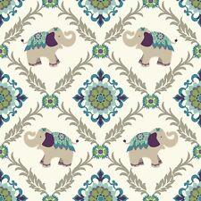 Indian elephant print Designer Wallpaper York Wallcoverings WK6710 FREE POSTAGE