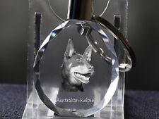 Australian Kelpie, Dog Crystal Round Keyring, High Quality, Crystal Animals Usa