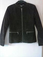 dark brown suede jacket. 10 by papaya. zip up. funnel neck