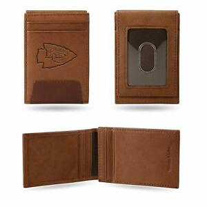 Kansas City Chiefs - NFL - Brown Leather Money Clip Front Pocket Wallet