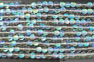 "Crystal Quartz Gemstone Round Ball Inside AB Beads 6mm 8mm 10mm 12mm 14mm 15"""