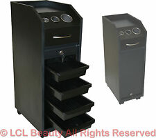 Black Styling Station Cart Trolley 4 Trays & Locking Door Beauty Salon Equipment