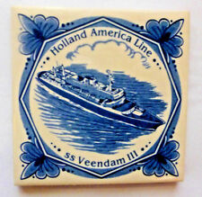 "HOLLAND AMERICA 4"" Ceramic Tile Coaster w/ Cork Backing SS VEENDAM III"