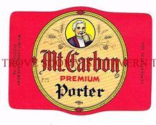Unused 1950s V1 Mt Carbon Porter Beer label Tavern Trove Pennsylvania