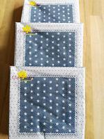 60 x Clayre&Eef Servietten Papier Papierservietten Kleine Sterne Blau Weiß Karo