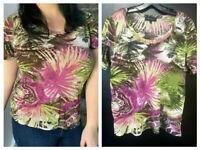 Karen Kane 4L13491W  Plus Size Black Tribal Print Stretch Knit Fringe Top $110