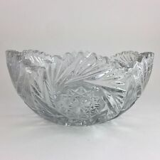 Heisey Pinwheel & Fan Clear Glass Bowl Large Antique EAPG Centerpiece
