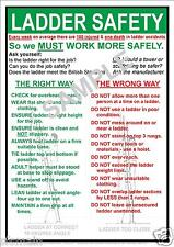 HEALTH AND & LADDER SAFETY WORKPLACE A4 LAMINATED  BEST VALUE COMPLIANCE POSTER