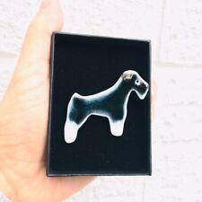 Schnauser Dog Brooch silver lustre, gift box porcelain handmade dog lover quirky