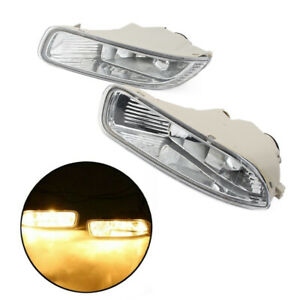 A Pair Clear Lens Bumper Fog Light Lamps with Bulbs For Toyota Corolla 2003 2004