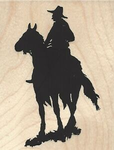 WESTERN COWBOY HORSE Wood Mounted Rubber Stamp Impression Obsession E13152 New