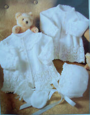 """4 Sizes Knitting Pattern Baby/'s /""""Light As A Feather/"""" Matinee Jackets /& Bonnets"""