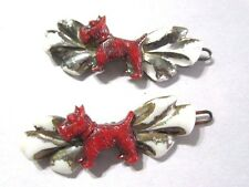 CELLULOID PAIR OF RED SCOTTIE DOGS AND BOW CHILDREN'S VINTAGE HAIR BARRETTE CLIP