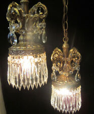Vintage ROCOCO Double ceiling lamp chandelier spelter brass platedcrystal light