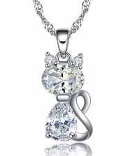 Sterling Silver Clear Cubic Zirconia Kitty Cat Pendant Necklace, Chain, Gift Box