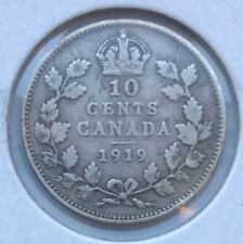 1919 - 10 cents, CANADA, King George V, VG-8 Condition