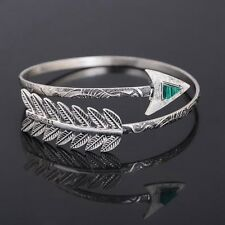 Boho Women Silver Bangle Arrow Open Arm Cuff Adjustable Bracelet Jewelry