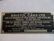 Typenschild Schild Bristol Cars 400 401 402 403 404 405 406 407 408 409 410 s26