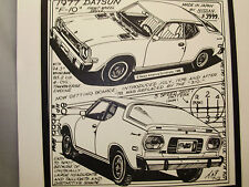 1977 Nissan Datsun F 10   Auto Pen Ink Hand Drawn Poster  Automotive Museum